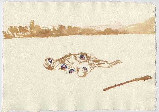A Man Lays Down In A Glanrhyd Field
